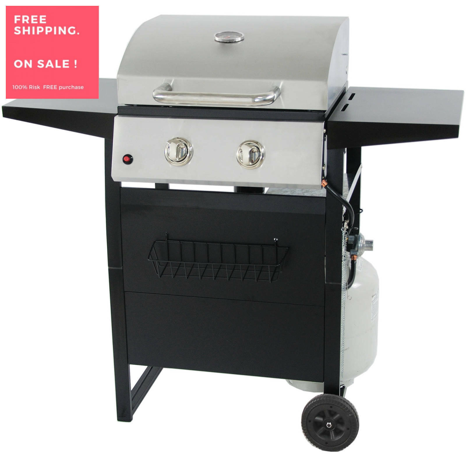 Details About Stainless Steel Bbq 2 Burner Gas Grill Fold Compact Portable Patio Meat Barbecue