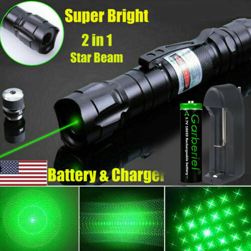 900 Miles 532nm Green Laser Pointer Star Beam Rechargeable Lazer+18650 Battery