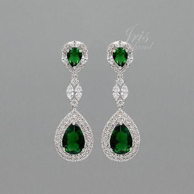 18K White Gold Plated Emerald Cubic Zirconia CZ Wedding Drop Dangle Earrings (Emerald Wedding Earrings)