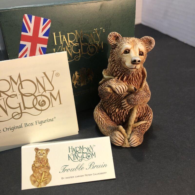 """Harmony Kingdom Trinket Box Figurine """"TROUBLE BRUIN"""" in Box Treasure Jests"""