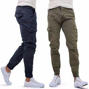Uomo-Pantaloni-con-Tasconi-Laterali-Multi-Tasche-Casual-Cotone-GIROGAMA-8050