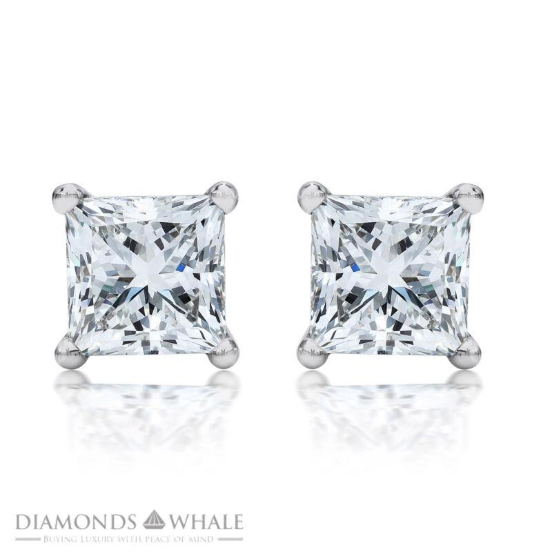 Princess Cut 2 Ct F/vs Enhanced Diamond Stud Earrings 18k White Gold Bridal
