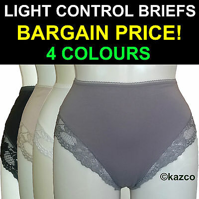 Light Tummy Control Briefs Cotton Lace Full Knickers Shapewear Pants Polyester ()