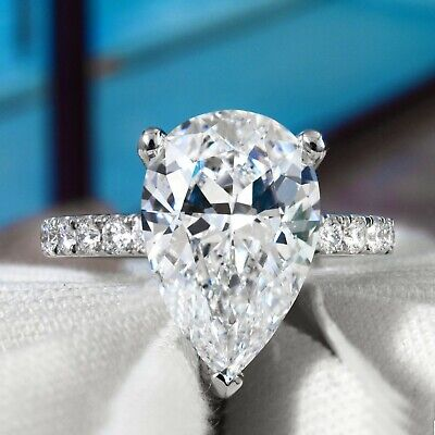 3.50 Ct Pear Cut Diamond Engagement Ring Round Cut Accents J,VS1 GIA 14K WG