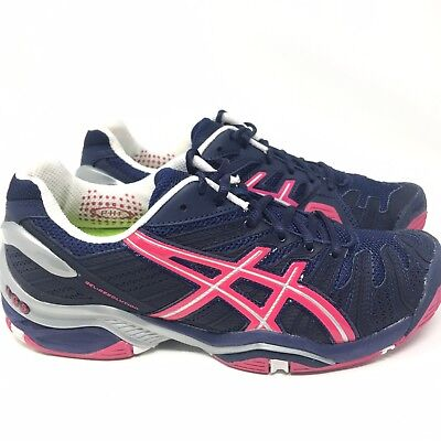 Asics Gel Resolution Blue Red Tennis Court Shoes Sneakers Womens Size 8.5 M 56da3d94ed
