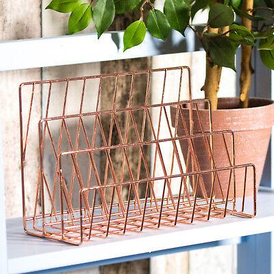 3 Compartment Copper Rose Gold Letter Storage Rack Tray Holder Desk Orgainser