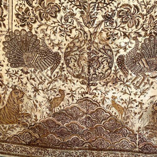 Kalamkari silk and cotton chintz Indian 19th century textile vintage wall old
