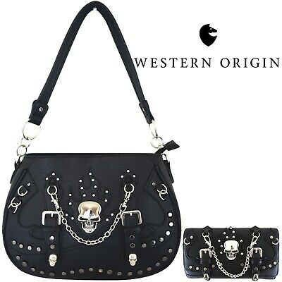 Punk Gothic Skull Concealed Carry Purse Women Handbag Shoulder Bag Wallet Black Ladies Black Handbag