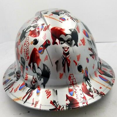 Batman Hard Hat (FULL BRIM Hard Hat custom hydro dipped , NEW HARLEY QUINN JOKER BATMAN NEW)