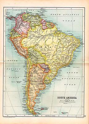 1909 MAP ~ SOUTH AMERICA ~ BRAZIL PERU ARGENTINE COLOMBIA ECUADOR