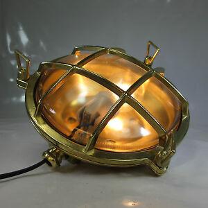 SCHIFFSLAMPE MASCHINENRAUMLAMPE SCHUTZGITTER MESSING DECKLAMPE KAJÜTEN LAMPE