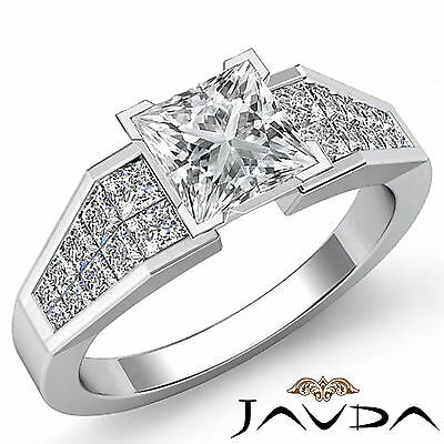 Invisible Prong Set Princess Diamond Engagement Ring GIA I VS2 Clarity 1.78 Ct