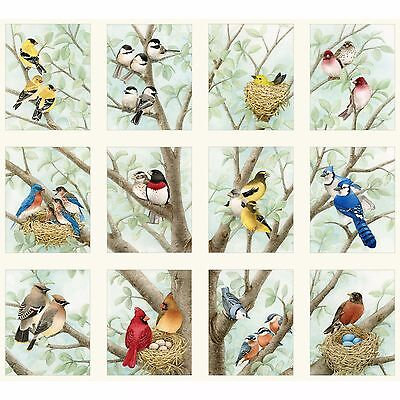 "Fabric Birds & Nests Quilt Panel (12 Squares 4 1/2"" x 6"") 21"" x 22"" Elizabeth"