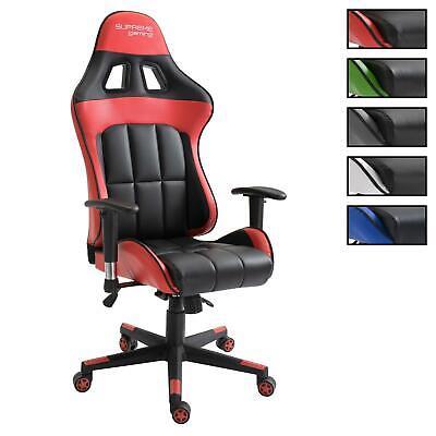Leder Computer Schreibtisch Stuhl (Gaming Bürostuhl Schreibtischstuhl Chefsessel Drehstuhl Racer Gamer PC Computer)