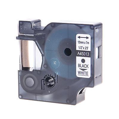 1pk 45013 Black On White Label Tape Cassette For Dymo D1 Labelmanager 12mm 12