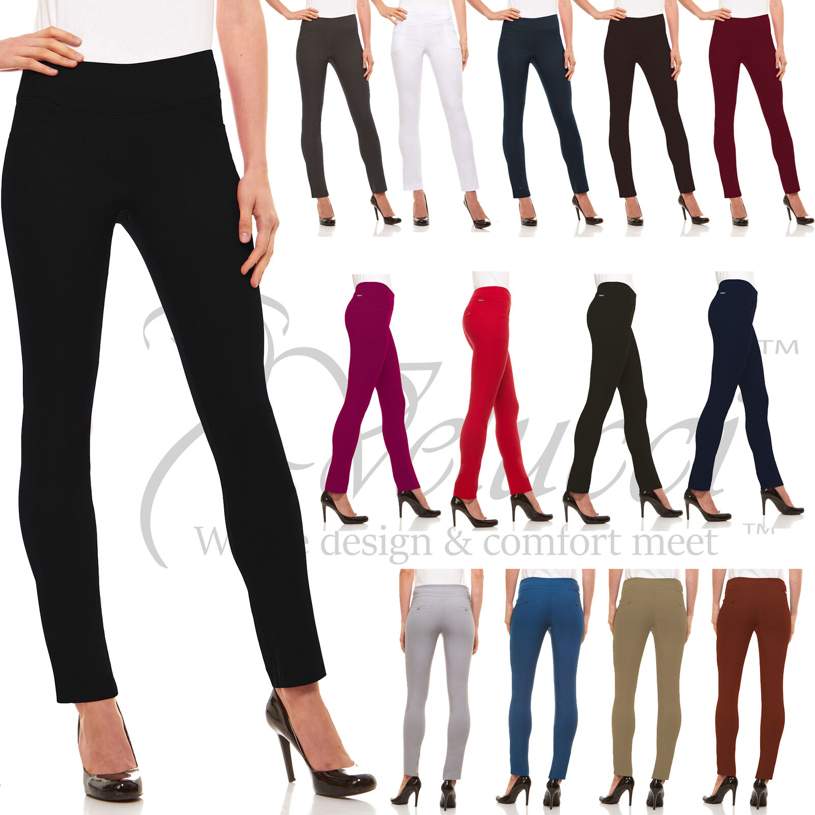 Womens Straight Leg Dress Pants - Stretch Slim Fit Pull On S