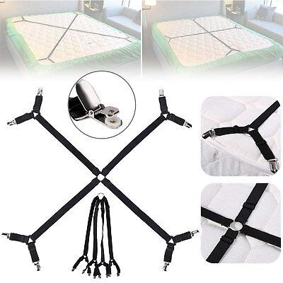 Crisscross Adjustable Bed Fitted Sheet Straps Suspenders Gripper Fastener Clips