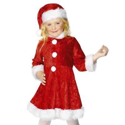 Kids Girls Cute Mini Miss Santa Claus Christmas Party Fancy Dress Plush Costume - Cute Santa Girl Costumes