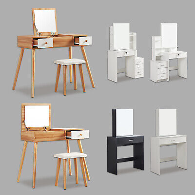 Dressing Table Stool Bedroom Vanity Set Makeup Desk w/ Mirror & Drawer 8 Styles