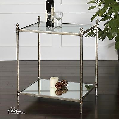 URBAN MODERN FORGED IRON BASE MIRROR SHELF GLASS TOP END SIDE ACCENT TABLE  (Base End Shelf)