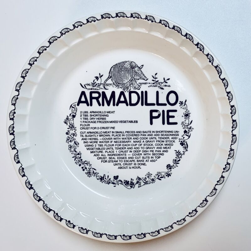Armadillo Pie Plate Recipe Royal China Co USA Vintage Collectible Hard To Find
