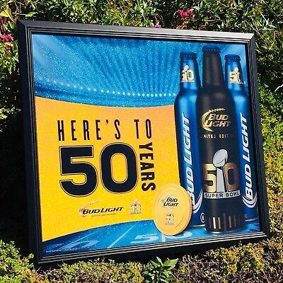 "Bud Light NFL Football Super Bowl 50 Beer Bar Pub Man Cave Mirror  ""New"" Sign"
