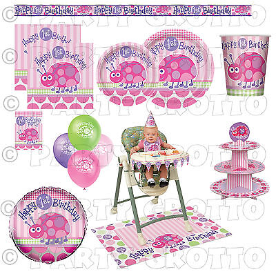 First Birthday Tableware (1st / First Birthday Baby Girl Party Supplies Ladybug Tableware &)
