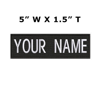 """RECTANGULAR CUSTOM EMBROIDERED NAME TAG Hook Loop patch Quality Badge 5"""" x 1.5"""""""