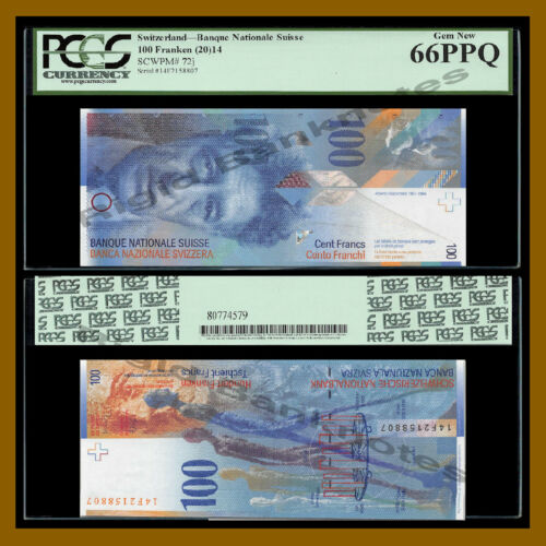 Switzerland 100 Franken (Francs), 2014 P-72j PCGS 66 PPQ
