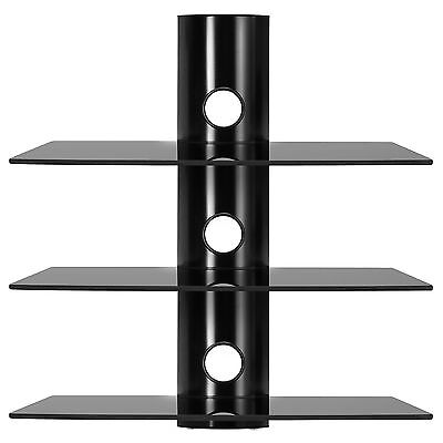 Floating Shelves Black Glass 3 Tier Modern DVD Sky Box Blueray Shelf Wall Mount
