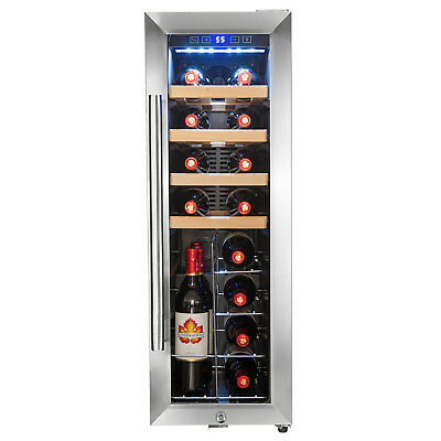 20 Bottle Touch Panel Single Zone Wire Wood Shelves Freestanding Wine Cooler