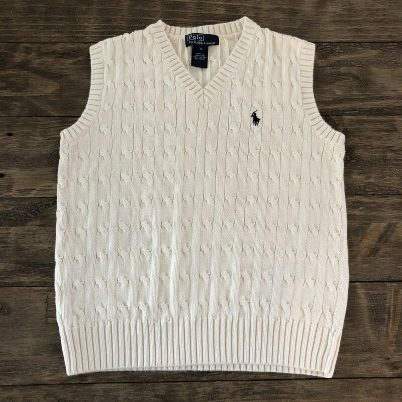 Polo Ralph Lauren Boys Small S V Neck Cable Knit Sweater Vest Ivory Pony Church
