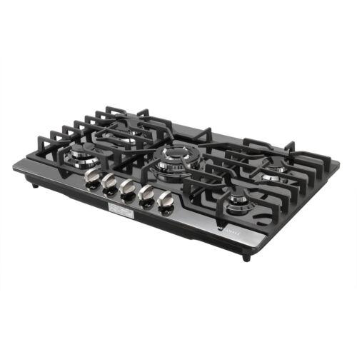 """Black Titanium 30"""" Built-in Cooktop 5 Burners Stove LPG/NG G"""