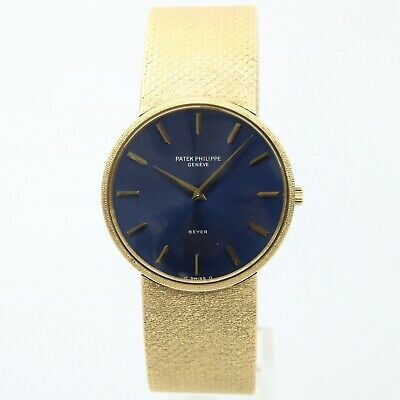 Patek Philippe Calatrava 18K Yellow Gold Watch Blue Dial - 3618/1 With Papers