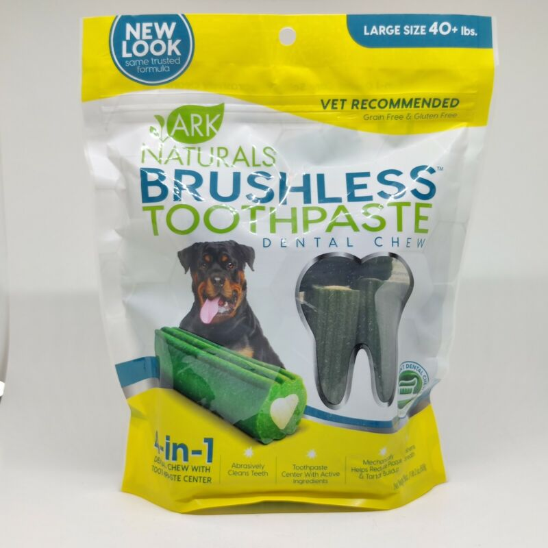 Ark Naturals Brushless Toothpaste Dental Chew 18oz for Large Dogs Exp 06/2021