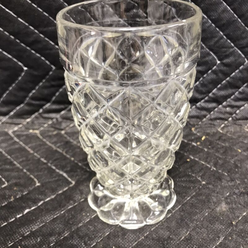 6 Anchor Hocking Glass WATERFORD Waffle Clear 10 oz.Tumblers Depression 5 1/4""