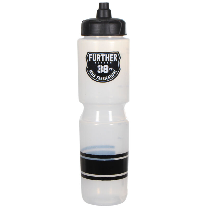 Soma Further 38oz Auto Valve Large Cycling Water Bottle, Clear/Black