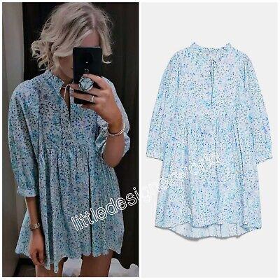 Zara Blue Floral Printed Poplin Dress With Ruffle Trim Size XS/S/M/L/XL/XXL NWT