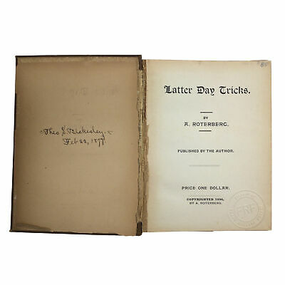 1st Ed Latter Day Tricks 1896 August Roterberg MAGIC Scarce 2nd Book