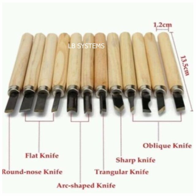 12 Piece Wood Carving Carvers Working Chisel Tool Set Chisels   NEW
