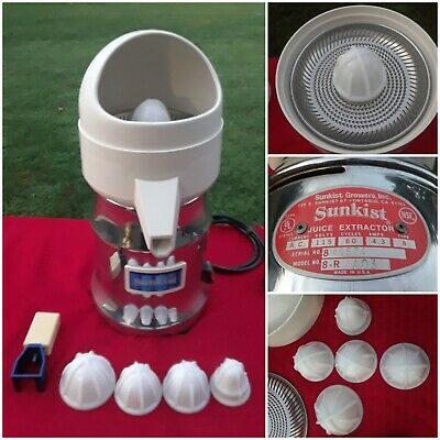 Sunkist Juice Extractor 8-r Commercial Juicer 5 Reamersbulbs  Strainer Tool