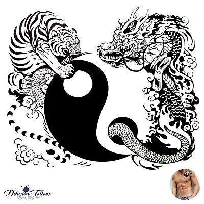YIN YANG TEMPORARY TATTOO, TIGER, DRAGON, BLACK, MENS, WOMENS, KIDS, TRANSFER](Childrens Tattoo Transfers)