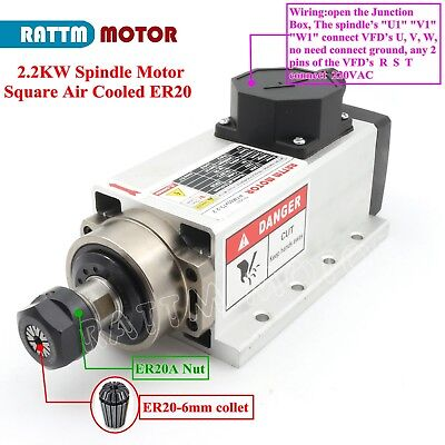 Square 2.2kw Air Cooled Spindle Motor Er20 24000rpm 400hz For Cnc Router Machine