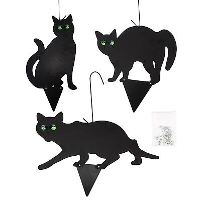 3x Black Metal Scare Cats Pest Control Scarer Repeller Cat Deterrant Black Cat