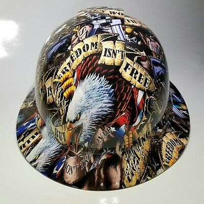 New Full Brim Hard Hat Custom Hydro Dipped Freedom Isnt Free Usa America Sick