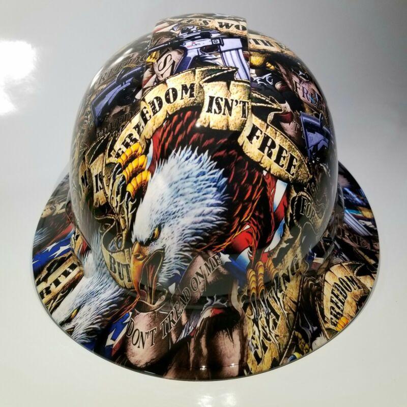 NEW FULL BRIM Hard Hat custom hydro dipped FREEDOM ISN