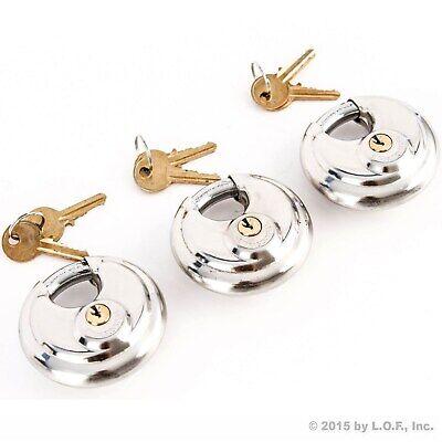 3 Stainless Steel Armor Disc Padlocks Trailer Self Storage Locks Keyed Alike