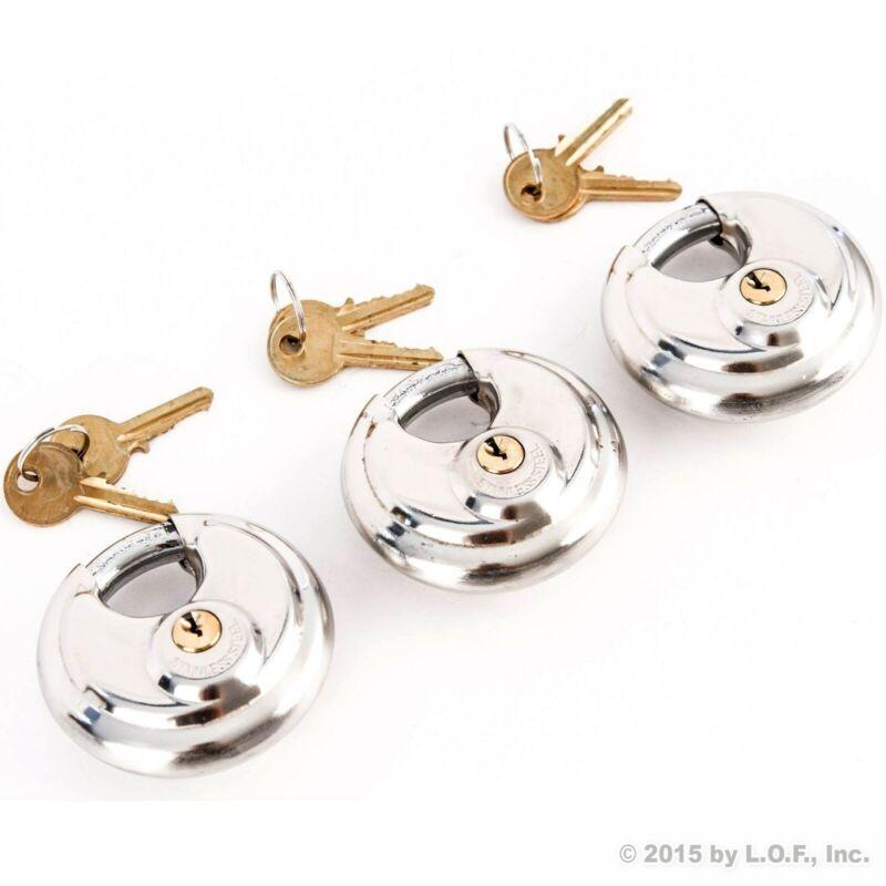 3 Stainless Steel Armor Disc Padlocks Trailer / Self Storage Locks Keyed Alike