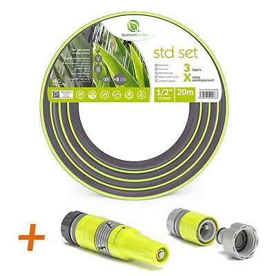 """1/2"""" 20M-3 LAYER REINFORCED GARDEN HOSE PIPE SPRAY WATERING NOZZLE SET-ECOLIGHT"""