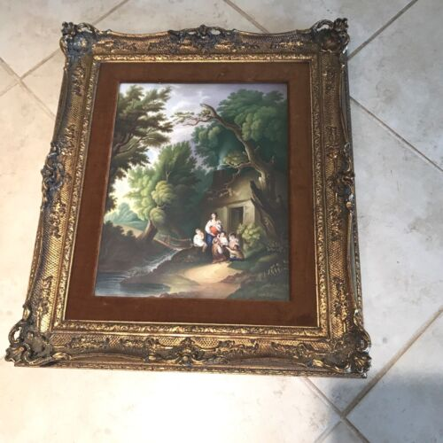 Antique 19th C European School Hand Painted Porcelain Plaque Mother and Children